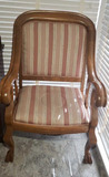 Vintage Empire-Style Upholstered Arm Chair--