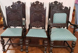 (6) Antique Edwardian Dining Chairs: (1) Arm Chair