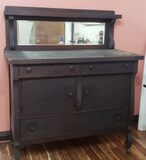Antique Oak Buffet with Beveled Mirror,