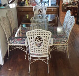 Vintage Iron/Wicker Beveled Glass Top Dining Table