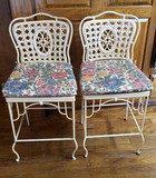 (2) Vintage Metal/Wicker Bar Stools with Seat