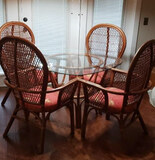 Rattan Table with Round  Glass Top and (4)