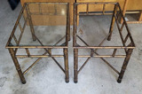 (2) Metal Side Tables (1 missing glass top)