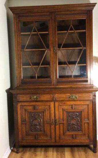 Antique Oak Glass Front Bookcase