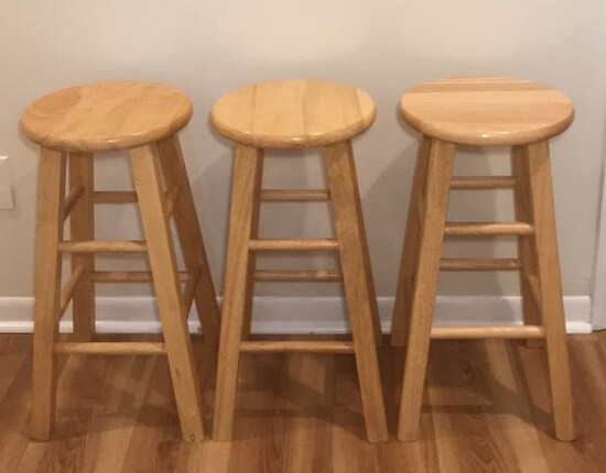 (3) Wooden Barstools