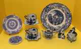 Assorted Blue and White Glassware and