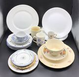 Assorted China and Corelle Dishes: (4) White