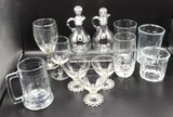(10) Assorted Glasses and (2) Cruets with Stoppers