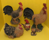 (4) Resin Chickens and Chestnut Lane Bird (with