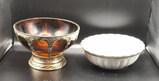 Silverplate Amber Glass Centerpiece 9 1/2'' Bowl