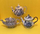 (3) Teapots: Sadler England Blue Willow (tiny