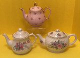 (3) Teapots: Pink with Roses Design and Gold