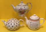 """(3) Teapots: Musical ''Tea for Two"""" Floral"""