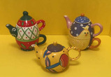 (2) Holiday Mini Teapots with Cups and (1) Small