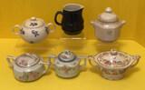 Navy Stoneware Japan Creamer and (5) Sugar