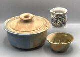 Assorted Signed Pottery: Covered Bundt Dish;