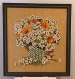 "Framed Crewel Embroidered Art - 29"" x 31 1/2"""