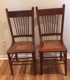 (2) Antique Oak Spindle Back Chairs with Cane Seat
