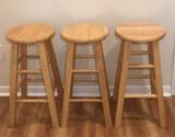 (3) Wooden Barstools