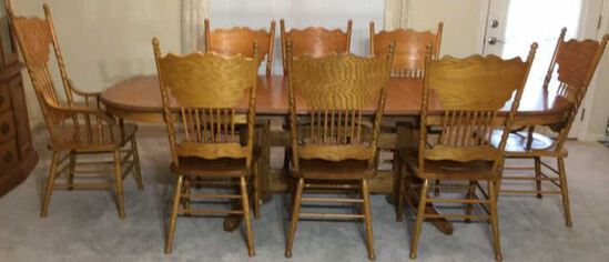 Oval Oak Dining Table & (8) Matching Pressed Back