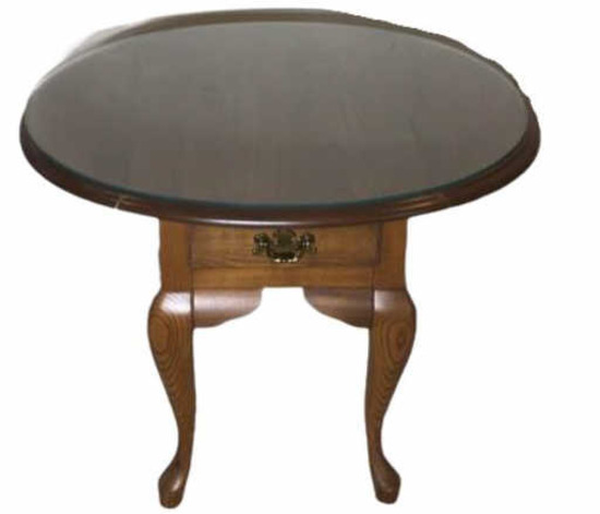 Oval Queen Anne Style Drop Leaf End Table