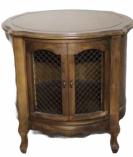 Round French Provencial 1-Door End Table