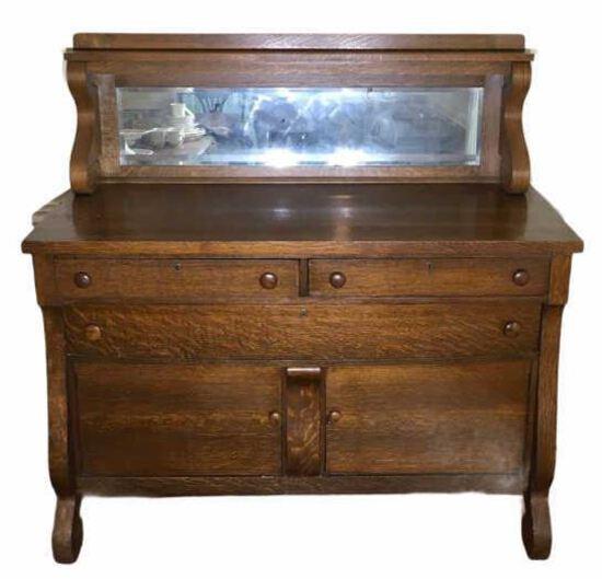Antique Oak Buffet, (2) Short Drawers Over (1)