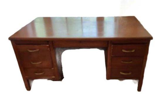 Antique Oak Knee-Hole Desk, Dovetail Construction