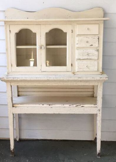 Primitive Painted Cabinet with (2) Glass