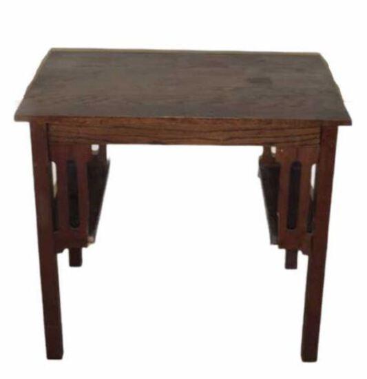 "Antique Oak Arts and Crafts Desk/Table—34 1/8"" x"