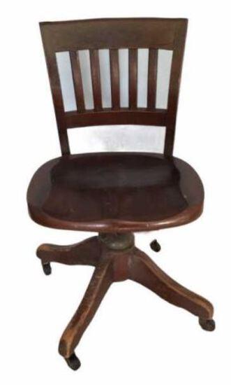 Antique Desk Chair on Casters
