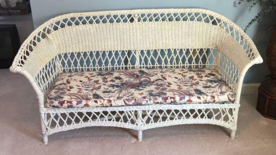 "Wicker Sofa with Cushion—65"" Long"