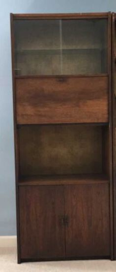 Wooden Bookcase with Sliding Glass Door, Fall