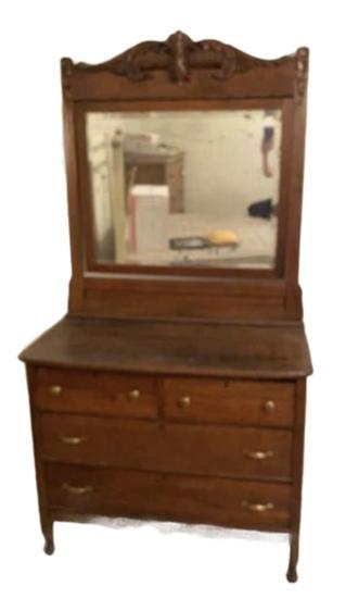 Antique Oak Dresser with Swing Beveled Mirror