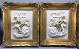 (2) Meissen Art Bisque Figural Plaques in Ornate
