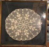 Framed Crocheted  Antique Doilie