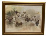 Framed Signed Print with Owls, 27 5/8'' W x 21