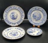 (4) Antique Blue & White Plates:  Canova 9 1/4