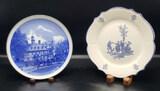 (2) Blue & White Plates:  Williamsburg, VA 7 3/4