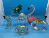 (6) Glass Bird Figurines, etc. Including (1) Hand-