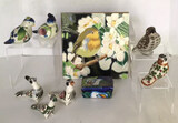 Assorted Bird Figurines, Tile & Covered Box