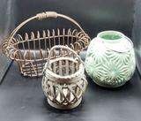 (2) Decorative Baskets and Ceramic Lantern