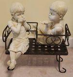Resin Boy & Girl on Gossip Bench