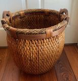 """Large Basket with Wooden Handles - 16"""" w 17"""" H"""