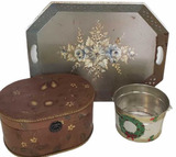 Painted Decorative Box, Metal Hand Painted Tray