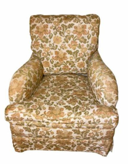 Vintage Upholstered Chair with Down Cushion