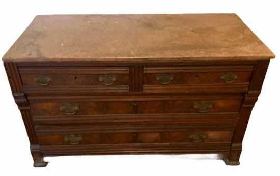 **Updated Information** Eastlake Marble Top Chest of Drawers, Brass