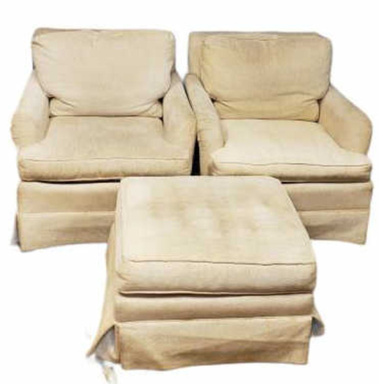 (2) Upholstered Chairs w/Ottoman by Henredon