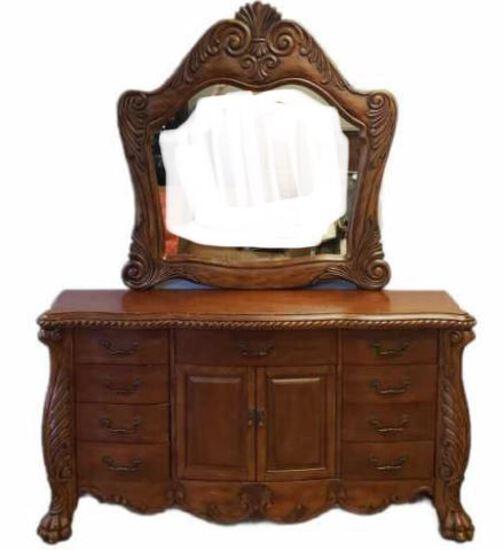 9-Drawer, 2-Door Dresser w/Mirror & Claw Feet