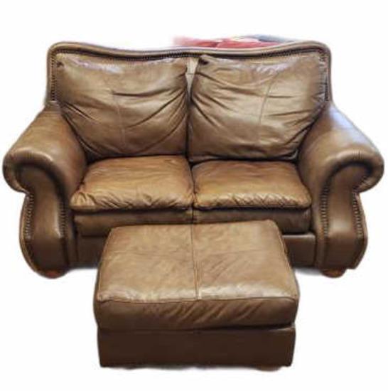 Leather Love Seat w/Ottoman